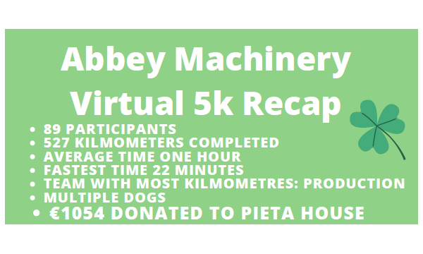 Abbey Machinery Run Virtual 5k for Pieta House
